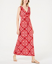 Printed V-Neck Maxi Dress, Created for Macy's