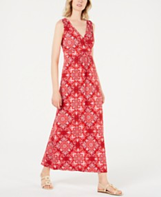 3224eece2 Charter Club Printed V-Neck Maxi Dress, Created for Macy's