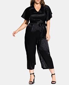 City Chic Trendy Plus Size Embossed Satin Jumpsuit