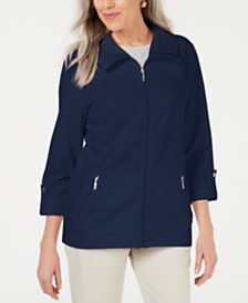 Karen Scott Zip-Front Casual Knit Jacket