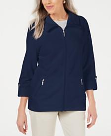 Karen Scott Zip-Front Casual Knit Jacket, Created for Macy's