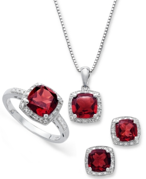 Sterling Silver Jewelry Set, Garnet (4-3/4 ct. t.w.) and Diamond Accent Necklace, Earrings and Ring Set–Macys-Cash Back