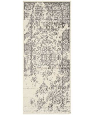 """Adirondack Ivory and Silver 2'6"""" x 14' Runner Area Rug"""