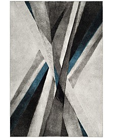 """Hollywood Gray and Teal 2'7"""" x 5' Area Rug"""