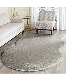 Faux Sheep Skin Dark Gray 2' X 3' Area Rug