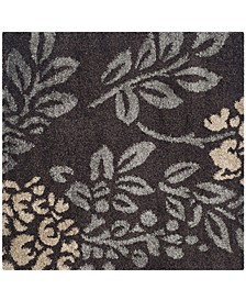 """Shag Dark Brown and Gray 6'7"""" x 6'7"""" Square Area Rug"""