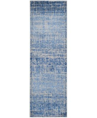 """Adirondack Blue and Silver 2'6"""" x 12' Runner Area Rug"""