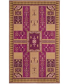 Classic Vintage Fuchsia and Gold 4' x 6' Area Rug