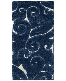 "Safavieh Shag Dark Blue and Cream 2'3"" x 4' Area Rug"