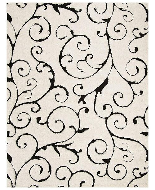 "Safavieh Shag Ivory and Black 8'6"" x 12' Area Rug"