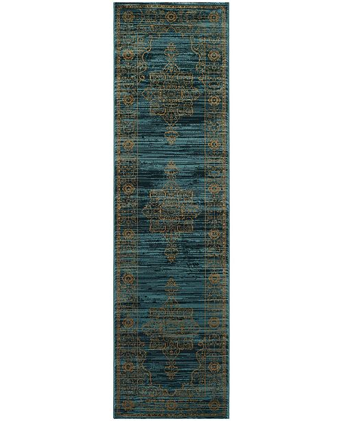 """Safavieh Serenity Turquoise and Gold 2'3"""" x 10' Runner Area Rug"""