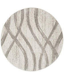 Adirondack Cream and Gray 4' x 4' Round Area Rug