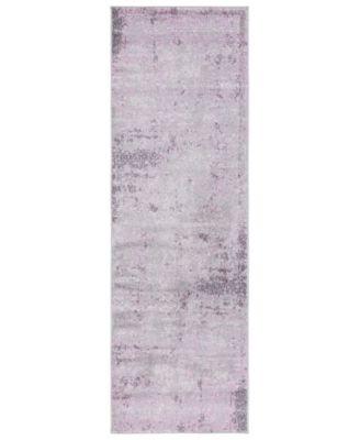 "Adirondack Light Grey and Purple 2'6"" x 6' Runner Area Rug"