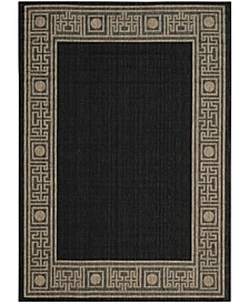 "Courtyard Black and Coffee 6'7"" x 6'7"" Sisal Weave Round Area Rug"