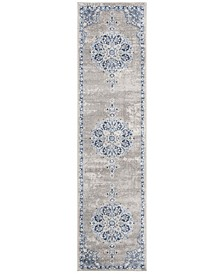 Brentwood Light Grey and Blue 2' x 6' Runner Area Rug