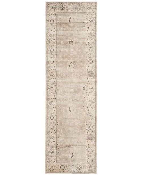 "Safavieh Vintage Light Grey and Ivory 2'2"" x 12' Runner Area Rug"