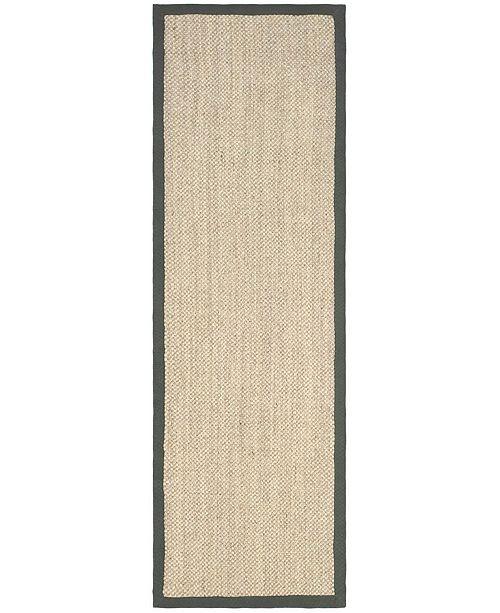 "Safavieh Natural Fiber Marble and Grey 2'6"" x 18' Sisal Weave Runner Area Rug"