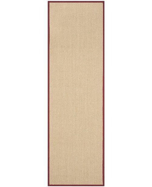 "Safavieh Natural Fiber Maize and Burgundy 2'6"" x 6' Sisal Weave Runner Area Rug"