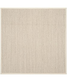 Natural Fiber Marble and Beige 8' x 8' Sisal Weave Square Area Rug