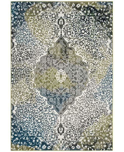 """Safavieh Watercolor Ivory and Peacock Blue 6'7"""" x 9' Area Rug"""