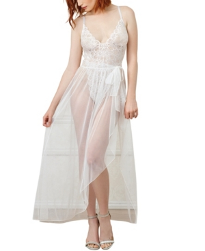 Women's Lace Teddy and Matching Sheer Wraparound Skirt