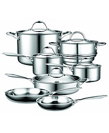 12-Piece Multi-Ply Clad Stainless Steel Cookware Set
