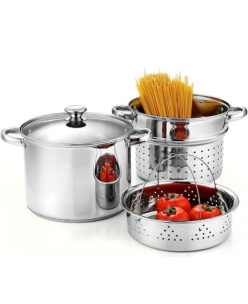 Cook N Home 4-Piece 8 Quart Pasta Cooker Steamer Multipots, Stainless Steel