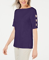 bf5a1d11 Karen Scott Cutout-Sleeve Boatneck Top, Created for Macy's