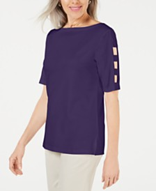 Karen Scott Cutout-Sleeve Boatneck Top, Created for Macy's
