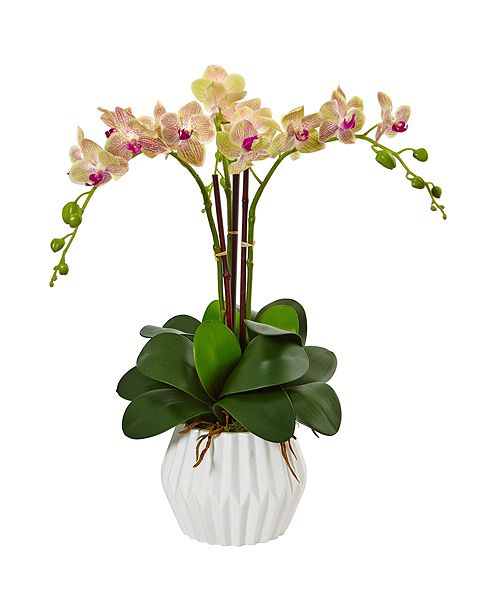 Nearly Natural Phalaenopsis Orchid Silk Arrangement in White Vase