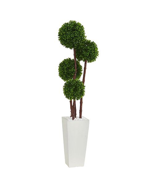 Nearly Natural 4' Boxwood Artificial Topiary Tree in Planter UV Resistant