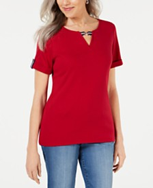 Karen Scott Petite Ribbon-Detail T-Shirt, Created for Macy's