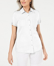 Cotton Piping Button Top, Created for Macy's