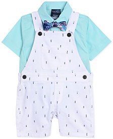 Nautica Baby Boys 3-Pc. Shirt, Printed Shortalls & Bowtie Set