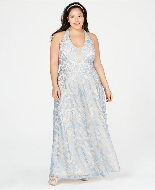 Speechless Trendy Plus Size Embroidered Halter Gown