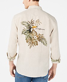 Men's Big & Tall Toucan Escape Tropical Print Linen Shirt