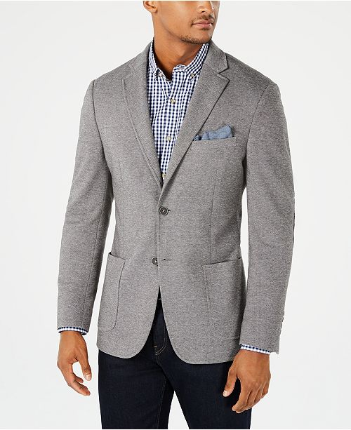 Bar III Men's Slim-Fit Stretch Gray Micro Grid Knit Sport Coat, Created for Macy's