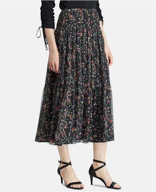 be2608eec8 Lauren Ralph Lauren Floral-Print Tiered Peasant Skirt & Reviews ...