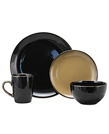Cambridge Grand 16 Piece Dinnerware Set, Black/Warm Taupe