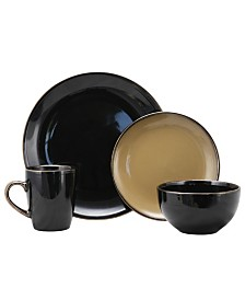 Elama Cambridge Grand 16 Piece Dinnerware Set, Black/Warm Taupe