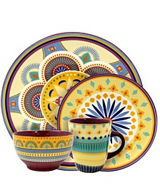 Puesta De Sol 16 Piece Service for 4 Stoneware Dinnerware Set