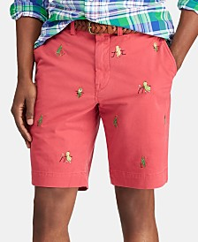 Polo Ralph Lauren Men's Big & Tall Stretch Straight Fit Embroidered Shorts