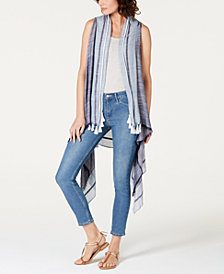 I.N.C. Fringe & Tassel Striped Vest, Created for Macy's