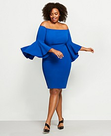 Plus Size Off-The-Shoulder Crepe Dress