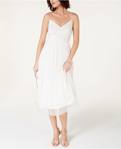 Adrianna Papell Beaded Chiffon Midi Dress