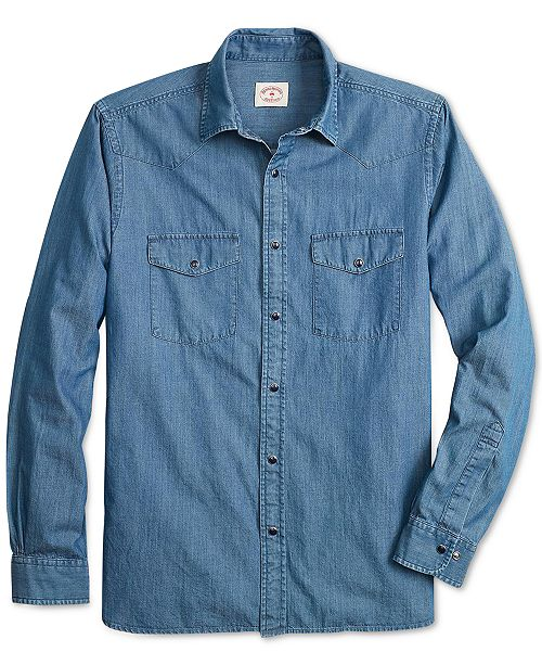149941147e Brooks Brothers Men s Slim-Fit Chambray Western Shirt   Reviews ...