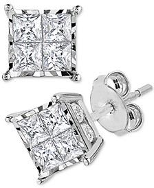 Diamond Princess Cluster Stud Earrings (1 ct. t.w.) in 14k White Gold