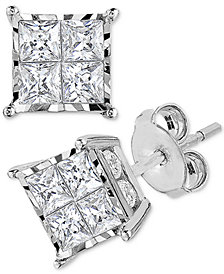 TruMiracle® Diamond (1/2 or 1 ct. t.w.) Princess Cluster Stud Earrings in 14k Gold