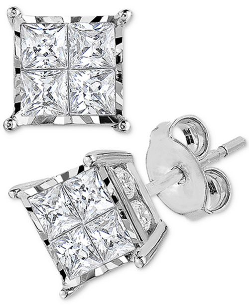 TruMiracle Diamond Princess Cluster Stud Earrings (1 ct. t.w.) in 14k White Gold