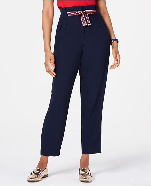 Tommy Hilfiger Tie-Front Pleated Pants, Created for Macy's
